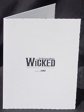 Custom printed photo folder for Wicked the musical